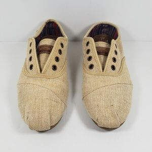 TOMS Lace Up Canvas Shoes Women's Size 7 Beige